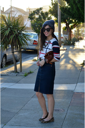 denim thrifted skirt - embellished asos hat - grid Forever 21 sweater