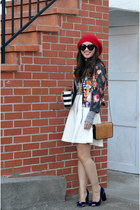 stripe Uniqlo top - beanie Forever 21 hat - floral print H&M jacket - H&M bag