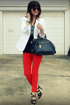 H&M jeans - Zara blazer - lucky shirt - Prada bag - DIY necklace