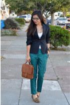 green H&M pants - H&M blazer - coach bag - leopard Steve Madden loafers