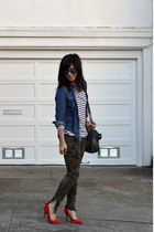 stripe H&M shirt - chambray thrifted shirt - foley & corinna bag - Gap heels