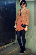 f21 top - asos boots - madewell jacket - Aritzia skirt