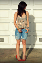 Club Monaco top - f21 shorts - Gap heels