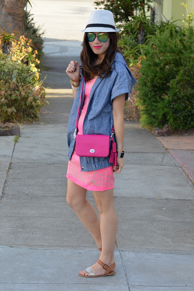 pink H&M dress - Target hat - chambray Derek Lam x Kohls jacket - coach bag