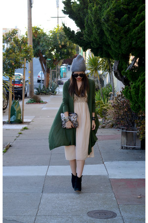 shawl BCBG cardigan - asos boots - vintage unknown brand dress - beanie H&M hat