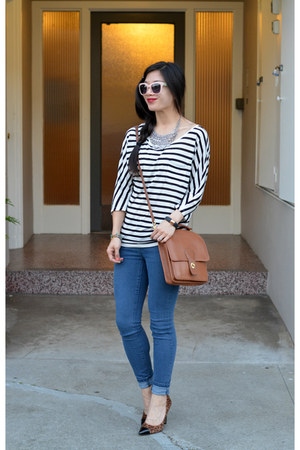 Forever 21 jeans - dolman stripe Forever 21 shirt - willis coach bag