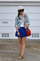 blue Forever 21 skirt - H&M hat - denim H&M jacket - red tory burch bag