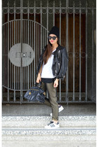 leather H&M jacket - Prada bag - H&M pants - Ross sneakers