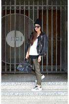 leather H&M jacket - Prada bag - H&M pants - Ross sneakers