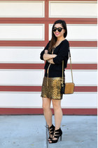 sequin H&M skirt - H&M sweater - H&M Paris Collection bag - Zara heels