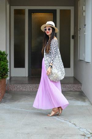 eb82fc92afa maxi Forever 21 skirt - panama H M hat - stripes Forever 21 shirt