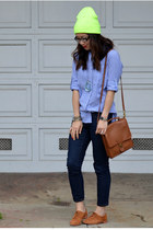 stripe Gap shirt - suede DV Dolce Vita shoes - Forever 21 jeans - neon asos hat