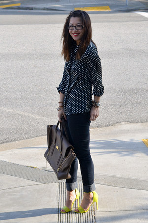 H&amp;M heels - Forever 21 jeans - polka dot Popbasic shirt - 31 Phillip Lim bag