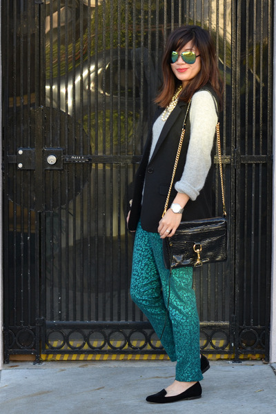 emerald green H&M pants - H&M sweater - Rebecca Minkoff bag