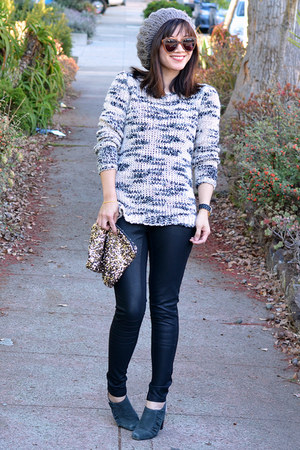 Mango sweater - knit Forever 21 hat - sequin MINUSEY bag