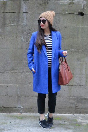 cobalt thrifted coat - pom pom beanie Forever 21 hat - stripes Gap shirt
