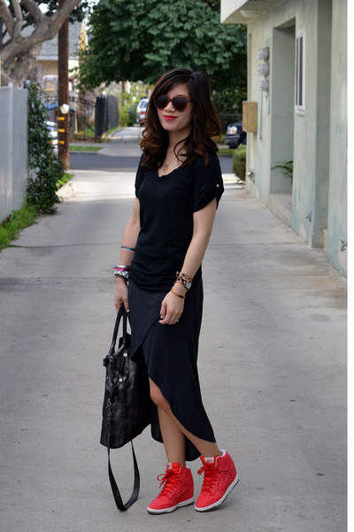 Zara dress - foley & corinna bag - black lucky t-shirt - nike sneakers