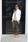 White-zara-blazer-karen-walker-sunglasses-camo-zara-pants