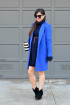 cobalt thrifted coat - asos boots - oversized maison martin margiela X H&M dress