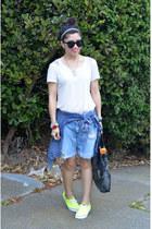 H&M shirt - chambray thrifted shirt - foley & corinna bag - Forever 21 shorts