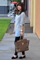 31 Phillip Lim bag - velvet Zara shoes - H&M sweater - chambray H&M Kids shirt