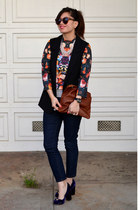 floral H&M top - Forever 21 jeans - Clare Vivier bag - H&M vest