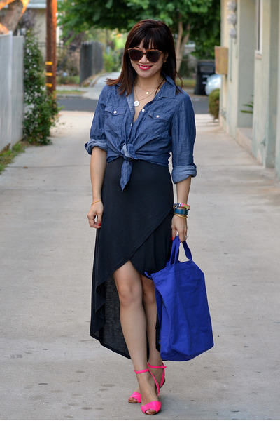 thrifted shirt - Zara dress - baggu bag - Zara sandals