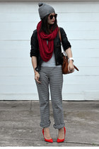 stripe Uniqlo pants - H&M hat - faux leather unknown brand jacket