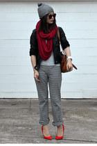 stripe Uniqlo pants - H&M hat - faux leather unknown brand jacket