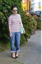boyfriend 7 for all mankind jeans - loeffler randall bag - leopard Loft heels