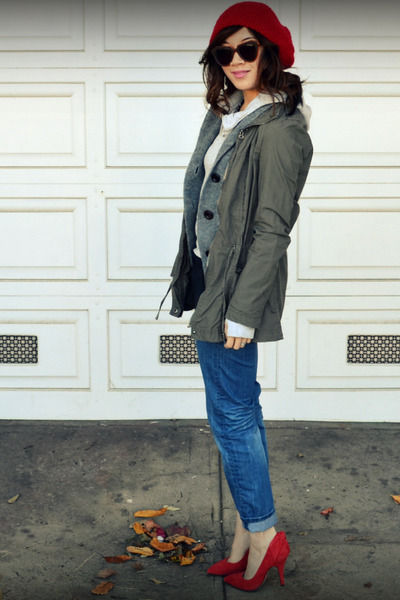 Gap heels - H&M Kids jeans - f21 hat - Zara jacket - JCrew cardigan