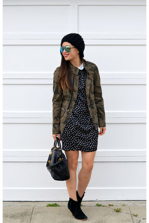 camo Zara jacket - asos boots - Zara dress - Prada bag