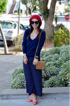 Forever 21 hat - navy vintage sweater - H&M Paris Collection bag