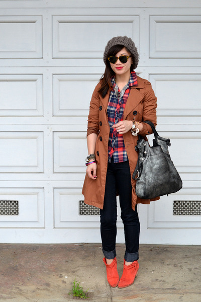 H&M coat - Joie boots - Forever 21 jeans - Forever 21 shirt