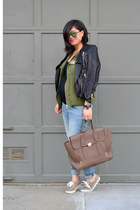 embellished H&M jacket - leather H&M jacket - Pea in the Pod Maternity jeans