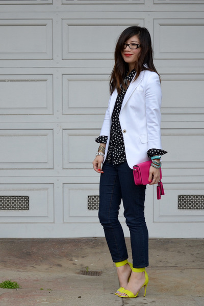 white Zara blazer - Forever 21 jeans - star print H&M Kids shirt - coach purse
