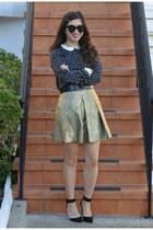 gold Club Monaco skirt - Zara dress - Karen Walker sunglasses - Zara heels
