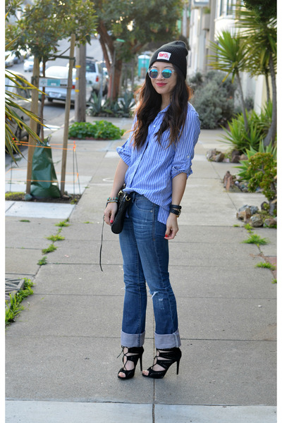 boyfriend Gap shirt - distressed American Eagle jeans