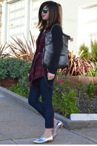 plaid StyleMint vest - Zara shoes - Forever 21 jeans - black H&M shirt