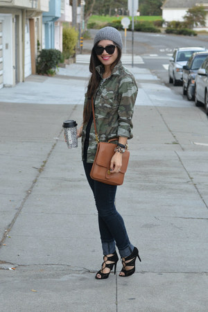 camo Ross jacket - Forever 21 jeans - beanie H&M hat - willis coach bag