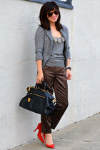 knit JCrew sweater - Prada bag - silk JCrew pants - grey JCrew top