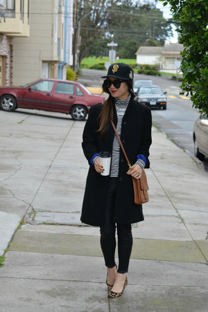 baseball SF Giants hat - Gap coat - willis coach bag - leopard print Gap flats