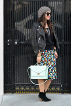 Anthropologie skirt - asos boots - leather H&M jacket - H&M sweater