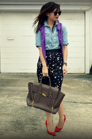 random skirt - Old Navy sweater - H&M Kids shirt - Phillip Lim bag - Gap heels