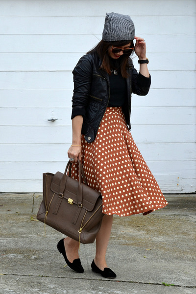 polka dot thrifted skirt - metallic H&M hat - faux leather unknown brand jacket