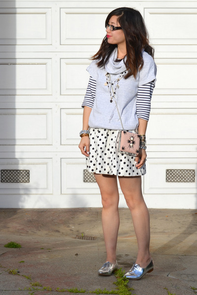 silver Zara shoes - stripe H&M shirt - beaded H&M bag - Gap top