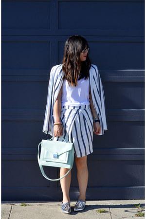 stripe Zara blazer - silver Nordstrom shoes - rider loeffler randall bag