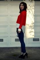 H&M sweater - f21 jeans - leopard print f21 top - H&M top - Max Studio heels