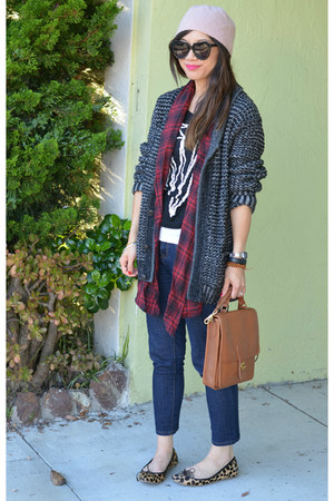 plaid StyleMint vest - Forever 21 jeans - H&M hat - Rag & Bone x Target sweater