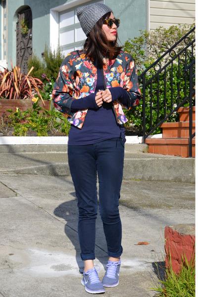 top as jacket H&M jacket - Paige jeans - metallic H&M hat